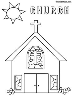 Church coloring page | Download Free Church coloring page for kids ...