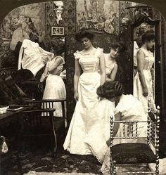 Bride getting dressed, 1890s
