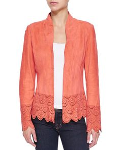 Suede Jacket W/ Laser-Cut Scalloped Detail by Bagatelle at Neiman Marcus.