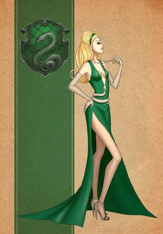 Slytherin Dress by AvieHudson on DeviantArt Mode Harry Potter, Harry Potter Dress, Estilo Harry Potter, Harry Potter Artwork, Harry Potter Drawings, Harry Potter Tumblr, Harry Potter Anime, Harry Potter Outfits, Harry Potter Pictures