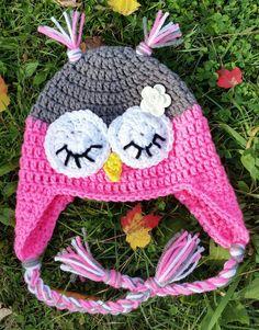 crochet Sleepy Owl Ear flap hat with flower by KissedbytheMoonB on Etsy
