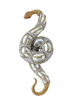 Buccellati. Broche Serpent en or, perles baroques, diamants blancs, diamants jonquille et rubis