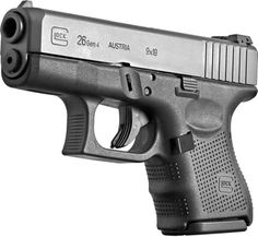 Glock G26 Gen 4. I have 2 of these. Very light weight. 10 rounds & perfect for conceal carry...especially for us moms.:)
