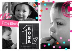 fotokaart 1 jaar meisje - Uitnodigingen - Kaartje2go