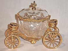 1989 Franklin Mint Disney Cinderella Coach Jewelry Box Crystal Glass 24k Gold…