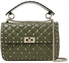 49c6a95e0d00 Valentino Garavani The Rockstud Spike Quilted Leather Shoulder Bag - Dark  green  Valentino Håndtasker