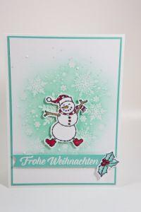 Weihnachtskarte mit Spirited Snowmen von Stampin' Up! Christmas Love, Christmas 2019, Stampin Up, Fun Crafts, Paper Crafts, Slider Cards, Christmas Catalogs, Winter Holidays, Homemade Cards
