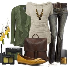 casual outfit - fall, green sweater