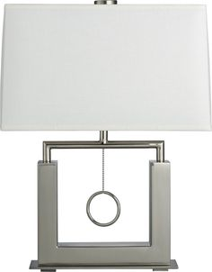 "Charles Nickel Table Lamp - Crate and Barrel - $269.00 - Just 8"" deep, good for narrow console"