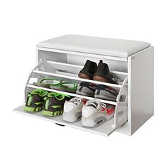 SoBuy White Shoe Storage Bench with Flip-drawer, Shoe Cupboard with Detachable Cushioned Seat Shoe Storage Cubbie Bench, Shoe Storage Bench Entryway, White Storage Bench, Wooden Storage Bench, Storage Bench With Cushion, Storage Bench Seating, Shoe Storage Cabinet, Wooden Shoe Cabinet, Shoe Cupboard