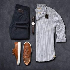 Men's outfit grid - grey oxford button down and slacks