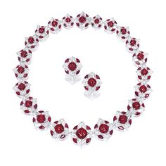 Sugar Loaf Cabochon Ruby, Diamond, Platinum and 18K Gold Necklace and Earrings