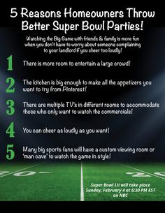 5 Reasons Homeowners Can Throw Better Super Bowl Parties! [INFOGRAPHIC] Your #CentralMaryland #RealEstate Connection #mmmarylandhomes