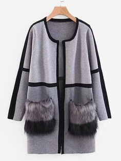 Contrast Faux Fur Pocket Front Cardigan