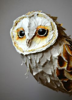 Barn Owl Paper Sculpture by Suzanne Breakwell