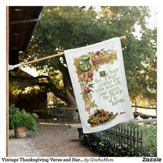 Vintage Thanksgiving Verse and Harvest Fruit House Flag | Zazzle.com