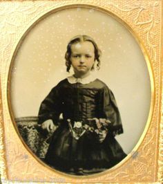 Antique Adorable Girl in Ringlets with Chatelaine Chain Belt Ambrotype Photo | eBay