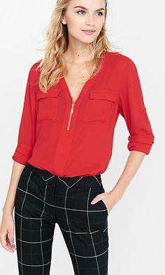 long sleeve zip front blouse