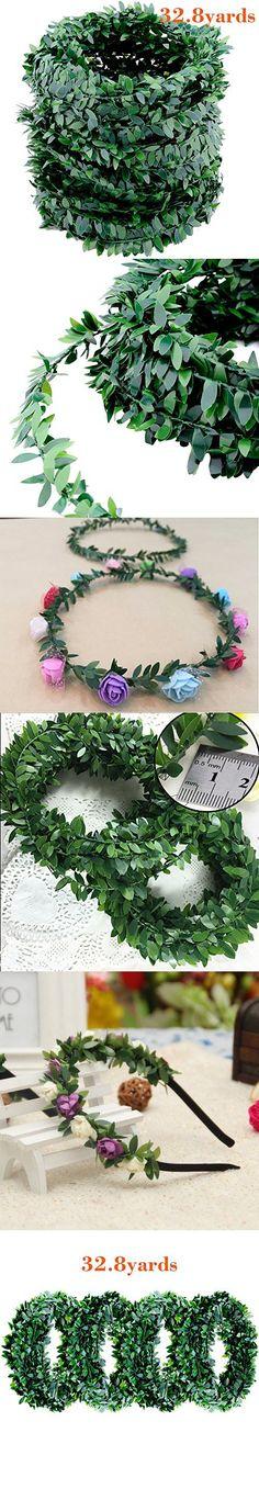 32.8 Yards Artificial Ivy Garland Foliage Green Leaves Fake Vine Headband for Wedding Party Ceremony DIY Headbands