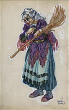 Original 1958 Illustration Painting of a Witch by Mahlon Blaine - From Atypical Fine Art and Antiques  on Ruby Lane