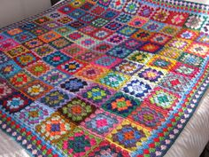Large Crochet BLANKET Granny Squares 64 x 64 by Thesunroomuk