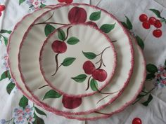 Vintage 1950's Vintage Blue Ridge, Southern Potteries Platter and PLates in the Cherry Bounce Pattern