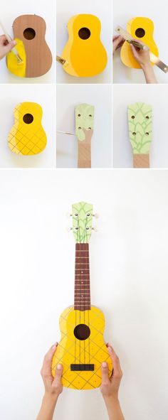 Pineapple ukulele(I don't think I would necessarily take apart the uke to do this but it's still fun to see what people can come up with;)