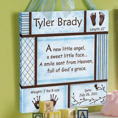 Personalized New Baby Art Canvas, Blue