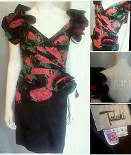 GORGEOUS VINTAGE 80'S TADASHI FLORAL PRINT DRESS SIZE 4