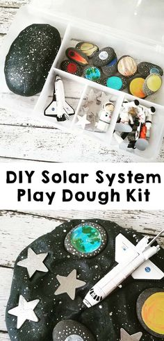 DIY Solar System Play Dough is the perfect sensory play for your toddler or preschooler. Soar into space fun with an easy sensory activity. Playdough Activities, Toddler Activities, Preschool Activities, Playdough Diy, Play Doh Kits, Diy Play Doh, Diy Solar System, Solar System Projects For Kids, Solar System Activities