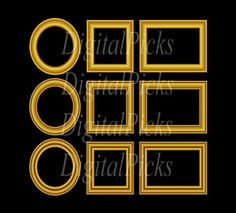 Nine Gold Frames Collage Digital Clip Art PNG and by DigitalPicks