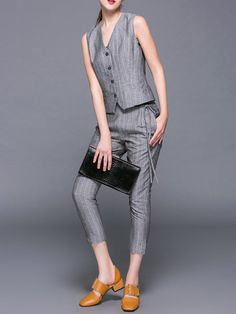 Shop Jumpsuits - Gray Sleeveless Two Piece V Neck Jumpsuit online. Discover unique designers fashion at StyleWe.com.
