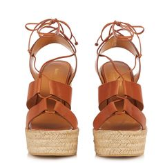 Saint Laurent Lace-up espadrille leather wedge sandals ($357) ❤ liked on Polyvore featuring shoes, sandals, leather lace up sandals, braided leather sandals, woven leather sandals, leather wedge sandals and tan wedge sandals