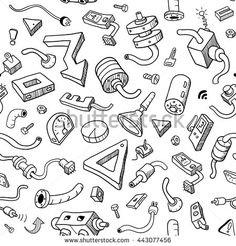 Seamless Techno Pattern in #Doodle Style. Black and White Vector Illustration for Cover Design. Set of Industrial Vector Items on White