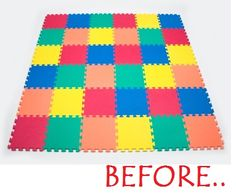 How to Paint Foam Mats... I like the Chevron pattern, but would number the backs of the matts because good luck getting that back together once you've taken it apart!