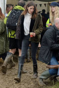 Alexa Chung at the 2014 Glastonbury music festival.