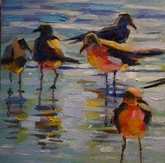 OIL PAINTING OF SEAGULLS AT THE BEACH, painting by artist Elizabeth Blaylock