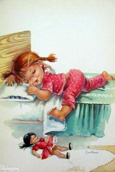 N _ sweet dreams Vintage Cards, Vintage Postcards, Vintage Pictures, Cute Pictures, Vintage Illustration, Good Night Sweet Dreams, Foto Baby, Big Eyes, Vintage Children