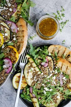 A vegetarian side dish for your summer cookouts and barbecues #ad #lentilsalad #vegetariansidedish #grilledvegetables #grilledvegetablesalad #lentilsaladrecipe Lentil Salad Recipes, Healthy Salad Recipes, Dried Lentils, Vegetarian Side Dishes, Grilled Vegetables, Dinner Recipes, Weeknight Recipes, Side Salad, Bean Recipes