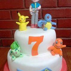 #Pockemon #fondant #cake by Volován Productos  #Ash #Pikachu #Charmander #bulbasaur #Squirtle  #instacake #Chile #puq #VolovanProductos #Cakes #Cakestagram #SweetCake
