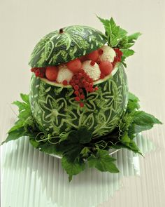 lovely carved watermelon for centerpiece