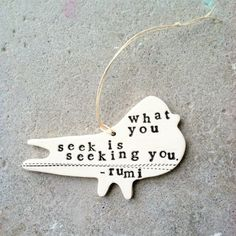 what you seek is seeking you- Rumi