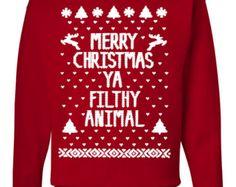Merry Christmas Ya Filthy Animal Ugly Christmas Sweater Red Jumper Sweatshirt Men Women Youth Children Christmas €11,80 EUR HolidayJumpers  Regalitos de Marta en Etsy