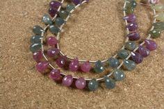 Sapphire Faceted Teardrop Beads - Pink Blue and Yellow Slightly Rough Beads, 8 inch strand
