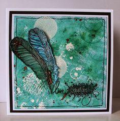 Handmade Card. Brusho Colours, Stampendous & IndigoBlu Limor Webber stamps.