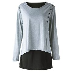 Elegant Scoop Neck Long Sleeve Faux Twinset Design T-Shirt For Women