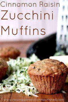 Cinnamon Raisin Zucchini Muffins :: Gluten, Egg, Nut, Dairy, & Refined Sugar Free - Raising Generation Nourished