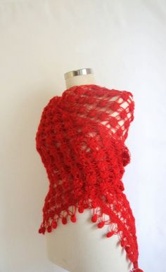 RED SHAWL Triangle warm scarf poncho bolero by modelknitting, $59.90