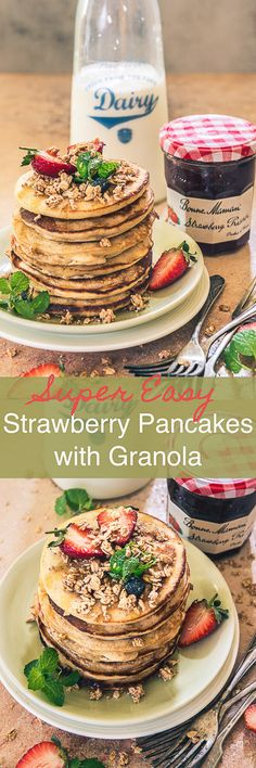 Fluffy, delightful, super finger-licking, Strawberry Granola Pancakes bring the choicest flavours of strawberries and the nutrition of granola to the table. Strawberry I Pancake I Recipe I Easy I Simple I Best I Perfect I One Bowl I No Clean I Healthy I Quick I #ad #sayitwithhomemade @Bonne Maman Preserves
