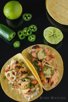 Switch up your fish taco game with a salmon version. Get the recipe from Willow Bird Baking.   - Delish.com